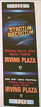 2006 5/8 Red Hot Chili Peppers Unused Ticket Irving - Plaza Irving