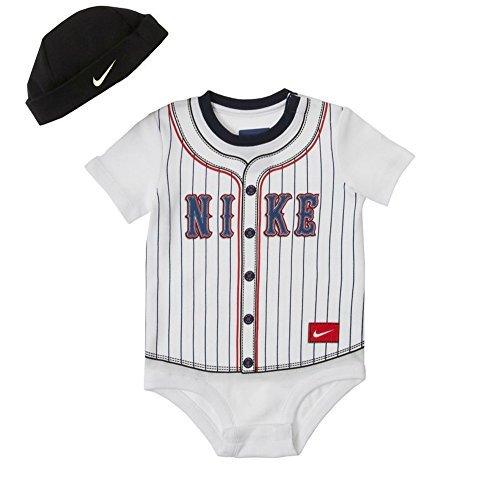 Nike Infants Baseball (Nike Baby Boys' Striped Baseball Creeper & Hat Set (6-9 Months))