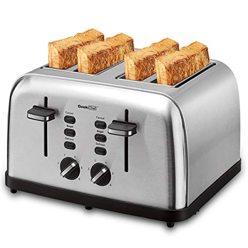 Toaster 4 Slice, Geek Chef Extra Wide Slots Stainless Steel Four Slice Toaster, Bagel/Defrost/Cancel Function 6 Browning Settings Auto Pop-up Remoable Crumb Tray (4-slice) (Four Slot)