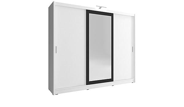 MUBLO - Armario con 2 Puertas correderas y luz LED (250 x 214 x 62 cm), Color Blanco: Amazon.es: Hogar