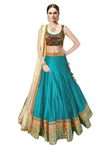 Market Magic world Woman's Firozi Banglori Silk Anarkali - Indian Traditional Wear