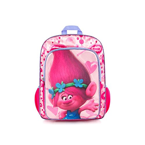 Hey Poppy - Trolls backpack school bag poppy by heys - dreamworks, for girls, 16 inch with adjustable back straps pink