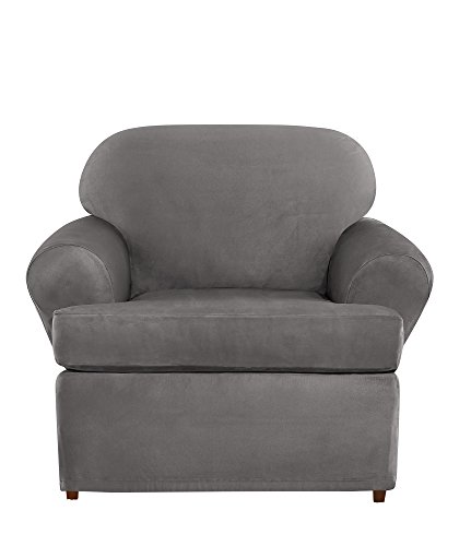 avyweight Stretch Suede Individual 2 Piece T-Cushion Chair Slipcover - Slate Gray ()