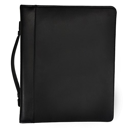 Black Leather Carry Case (Samsill Leather Portfolio Zipper Closure, 1 inch Ring Binder, Carry Handle, 8.5 Inch x 11 Inch Letter Size Writing Pad, Black)