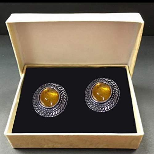 Men's Cufflinks Citrine Gemstone & 925 Sterling Silver, Handmade Energy Gifts From Nature