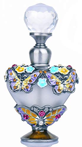 YU FENG Fancy Retro Frosted Blue Restoring Glass Perfume Bottle with Butterfly Stopper Empty Refillable (Butterfly2)