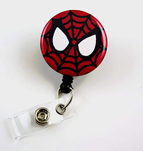 Superhero Spiderman Mylar - Nurse Badge Reel - Retractable ID Badge Holder - Nurse Badge - Badge Clip - Badge Reels - Pediatric - RN - Name Badge Holder (Super Hero Id Badge Holder)