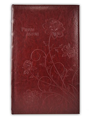 Golden State Art, Maroon Scroll Embossed Faux Leather Cover Photo Album, Holds 300 4x6 Pictures, 3 Per Page