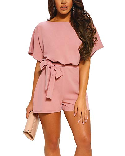 Women Summer Shorts Jumpsuits -Juniors Casual Loose Pants Rompers Dressy Top Belted Playsuits -