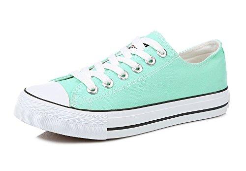Sfnld Womens Spring Fall Classic Low Cut Canvas Shoes Sneaker Light Green XqA8u