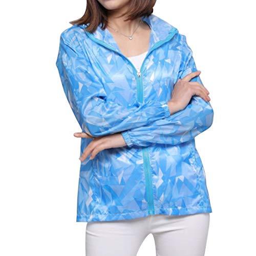 日焼け止め服 レディース  薄手 紫外線防止 透け感 迷彩服 ゆったり 防撥水 戸外 長袖 パーカー 上着 (Color : 4)