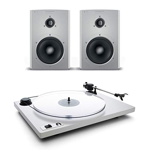 Dynaudio Xeo 2 Wireless Bookshelf Speakers and U-Turn Orbit Plus Turntable with Built-in Preamplifier (White) - Dynaudio Studio Speakers