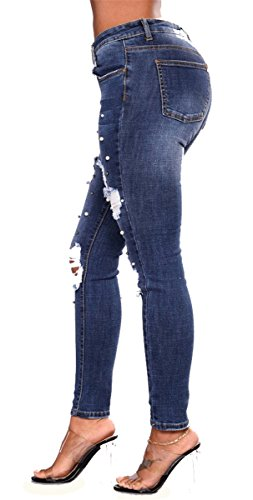 Classique Distressed Haute Skinny Ripped Stretch Femmes Perles Taille Pantalon Denim Bleu Trous Bodycon Jeans B4qSaSwHTd