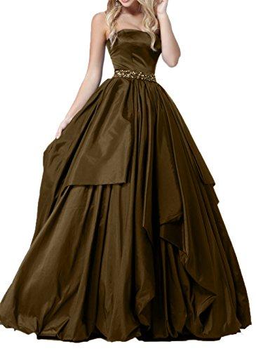 Ballkleider Promkleider Festlichkleider Braut Linie Traegerlos Langes Rock La Weiss A Partykleider Abendkleider Prinzess Braun mia Tz58nwpxqY
