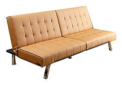 Abbyson Reagan Leather Foldable Futon Sofa Bed, Camel