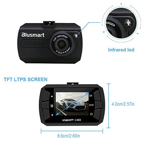 Blusmart Caméra de, Dash Cam Caméscope Enregistreurs DVR Vidéo de Voiture avec 120° HD 1080P, Accéléromètre Capteur-G Vision Nocturne 4xZoom, Micro SD 16Go incluse durable service