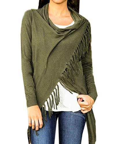 Cime con Tops Jumper a Lunga Inverno Lungo Maglione e Frange Bluse Donna Autunno Moda Maglie Manica Casual Sweater Pullover vw7za
