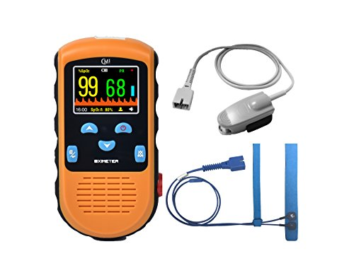 CMI Handheld Pulse Oximeter - with Adult and Infant (Under 20 lbs) Sensor (90-Day 100% Satisfaction Guarantee), AC Power Adapter Optional, Not for Veterinary use