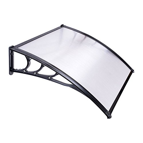 AMPERSAND SHOPS 3 Ft. Clear Window Patio Awning Cover (Black Frame) Polycarbonate Weather Protection
