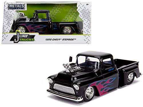 1955 Chevrolet Stepside Pickup Truck with Blower Glossy Black with Flames Just Trucks Series 1/24 Diecast Model Car by Jada 30714