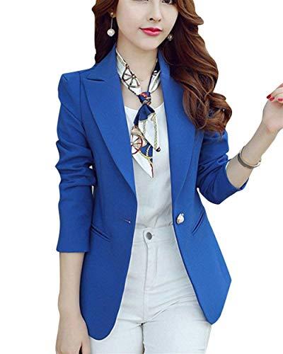 Button Fit Giacca Libero Blau Blazer Manica Business Eleganti Tasche Saphir Solidi Stlie Lunga Tailleur Cappotto Autunno Primaverile Da Tempo Moda Classica Con Colori Grazioso Slim Donna qOwFO1H