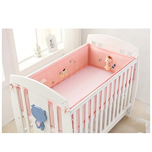 Breathable Crib Bumper Pads for Standard Crib Machine-Washable Padded Crib Liner Set for Baby Safety Bumper Guardrail Crib Rail Padding.(Pink)