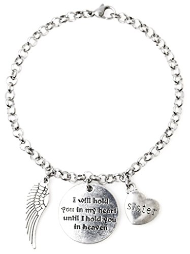 "Adjustable 8.5"" Stainless Steel Bracelet I Will Hold You in My Heart Until I Hold You in Heaven Sister Angel Wing. Personalize with Clip on Charms 68A"