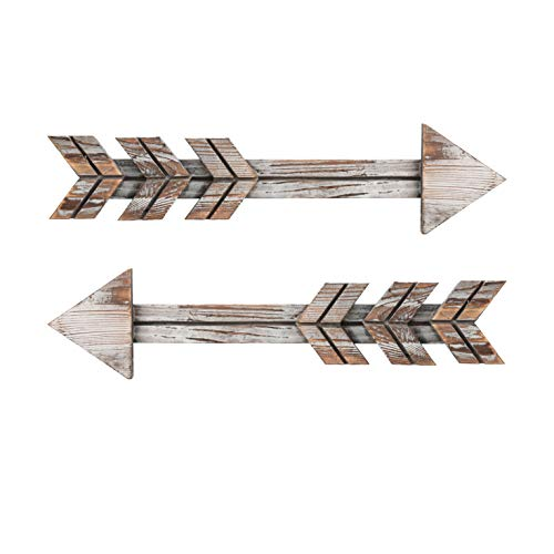 Soonow Wooden Arrow Wall Decor - Rustic Wood Arrow Sign, Set of 2, Vintage White Double Down Arrow Sign