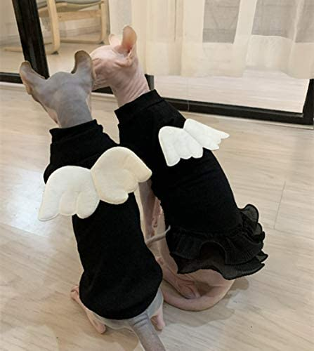 Sphynx Hairless Cat Cute Breathable Summer Cotton Dress Skirt Shirts with Wings Pet Clothes,Round Collar Kitten T-Shirts with Sleeves, Cats & Small Dogs Apparel 27