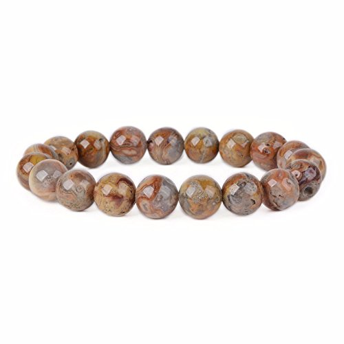 Natural Redish Crazy Lace Agate Gemstone 10mm Round Beads Stretch Bracelet 7