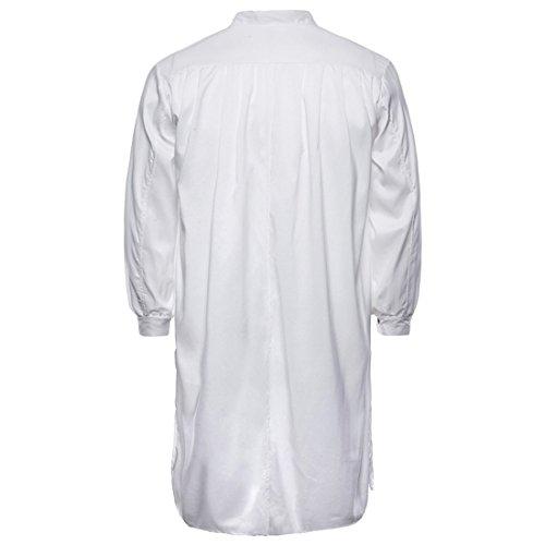 Manche Coton Au Ai Plaine Chemises Genou Blanc Hommes Grandad De Nuit Longue Collier moichien wavS6TPqaI