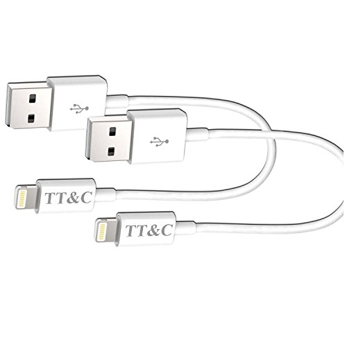 TT&C iPhone Lightning Short Cable [ 3 inch white 2 pack ] Supreme Quality Syncing and Charging Cable Data Cord for iPhone 8, iPhone X, iPhone 7, 7Plus, 6, 6s, 6+, 5, iPad Mini, Air, iPad 5, iPod …