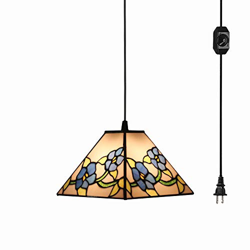 (STGLIGHTING Tiffany Style Glass Lampshade Ceiling Lamp Colorful Flower Chandelier with 15ft Plug-in UL On/Off Dimmer Switch Cord for Bedroom Background Wall Dining Room Bulbs Not Included)
