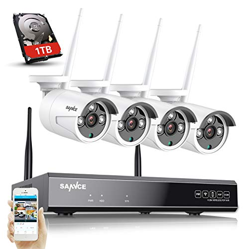 SANNCE Wireless Security System 8CH 1080P CCTV NVR and 4X 1.3MP...