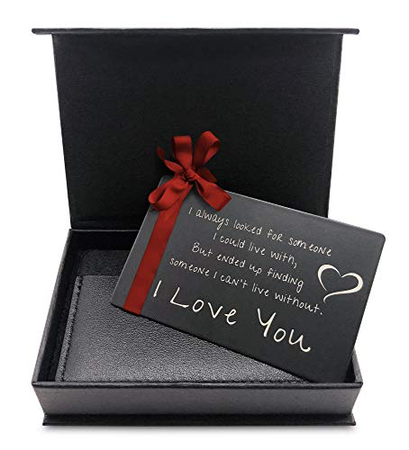 """MANA'O Metal Wallet Card LOVE Cards For HIM """"Someone to Love"""" Engraved Wallet Insert for Men, Husband or Boyfriend Gifts(Women Too!)-Wallet Cards Fit ALL Mens Wallets and RFID Card Holder Wallet S-1 ()"""