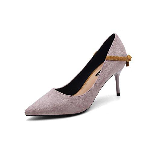 Ajunr Moda/elegante/Transpirable/Sandalias Tacones de 10 cm Suede Punto Con una multa Arco Zapatos de boda Los zapatos Zapatos caqui,44 38