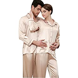 Jepaja Womens Mens Matching Couples Long Sleeve Silk Pajama Pj Set Gold Large