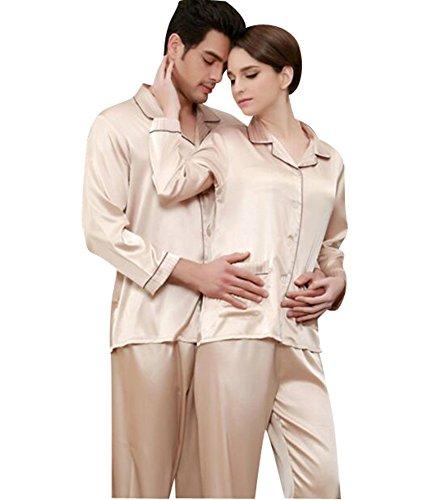 Jepaja Womens Mens Matching Couples Long Sleeve Silk Pajama Pj Set Gold Large