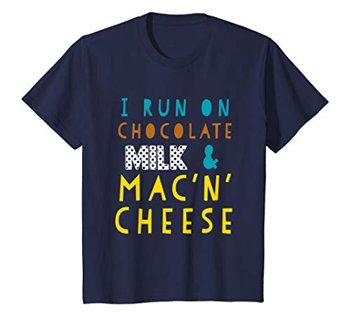 Kids I Run On Chocolate Milk and Mac N Cheese Funny Toddler Shirt