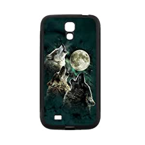 SamSung Galaxy S4(I9500) Case,Cool Howling Wolf And Moon & Beautiful Starry Sky Of Night Design Cover With Hign Quality Rubber Plastic Protection Case