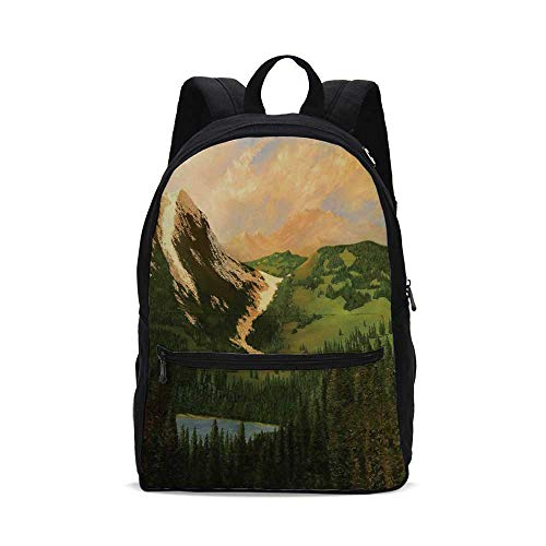 Country Decor Fashion Canvas printed Backpack,Rural Scenery in the Valley with Cloudy Sky on Northern Lands Lake Mod Nature Painting for school,One_Size