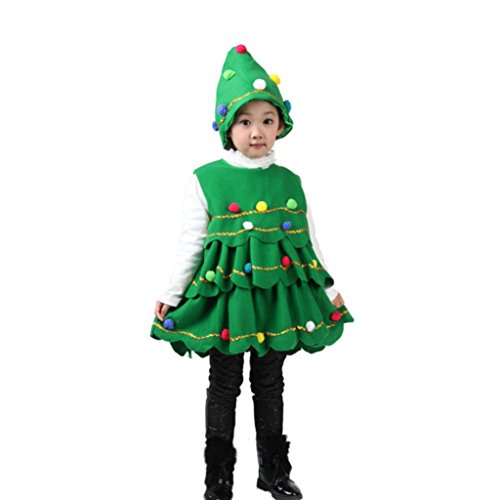 Christmas Tree Costume Toddler (kaifongfu Toddler Kids Baby Girls Christmas Tree Costume Dress Tops Party Vest+Hat Outfits (Green, 110♣♣Size:4T))