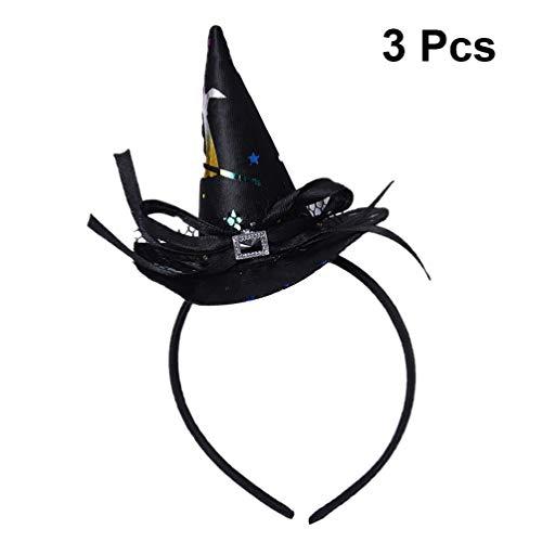 STOBOK 3pcs Halloween Witch Hat Headband Bow