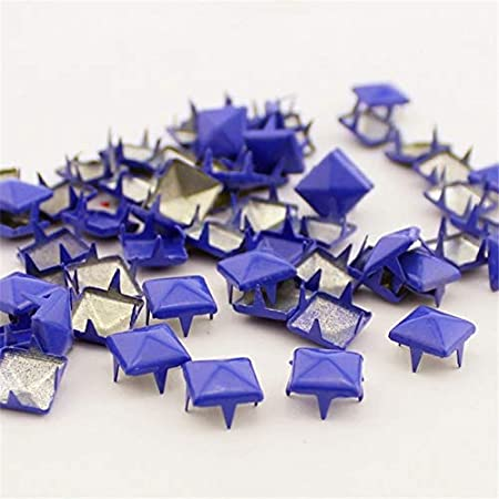 Color: red Kamas Mix-Colors 100pcs 9mm Pyramid Rivets and Studs Punk DIY Metal Square Rivet Studs and Spikes for Clothing Shoes Bags Accessories