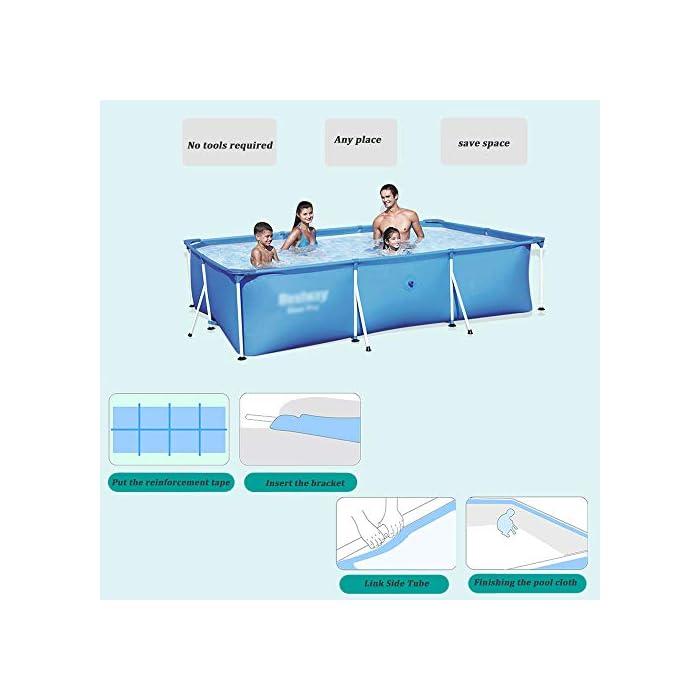 41YvLREt6TL ✔ Hecho de material de malla de PVC de tres capas, natación de alta resistencia, duradera y segura ✔ La piscina está conectada con tubos de electrochapado antioxidantes para prolongar la vida útil. ✔ Cinco especificaciones, con capacidad para 2-6 personas