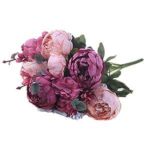 BROSCO Artificial Silk Peony Fake Flower Leaf Plants Bouquet Wedding Table Decor | Color - Pale Mauve 91