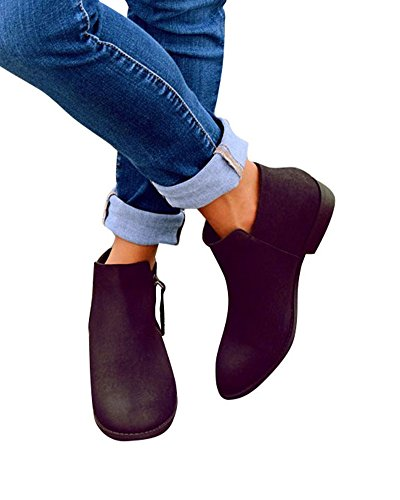 Huiyuzhi Womens Pointy Toe Stacked Chunky Heel Ankle Bootie