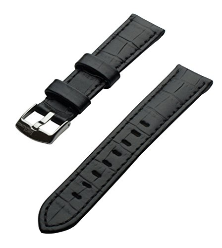 SWISS REIMAGINED 8 Colors Quality Genuine Leather Replacment Watch Band Strap - Black