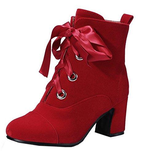 Easemax Femme Elégant Talon Bloc à Lacets Low Boots Bottines Rouge AJrceOu