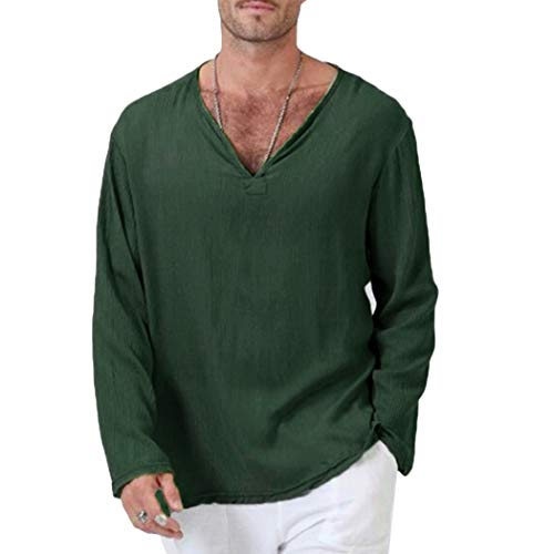 58686a7565f16 LIAOYLY Plus SizeCottonT Shirt Men Vintage Long Sleeve V Neck Loose Tops T-Shirt  Casual